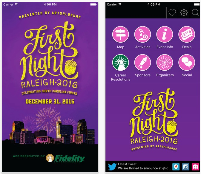 First Night Raleigh 2016 App Screen Shots