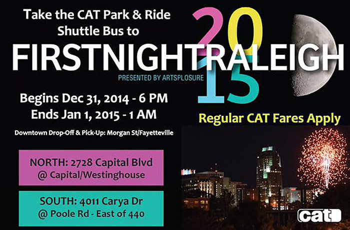 First Night Raleigh 2015 To Have Park-and-Ride With CAT Buses
