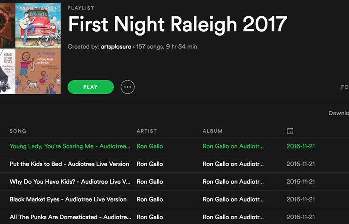 First Night Raleigh 2017 Spotify Playlist