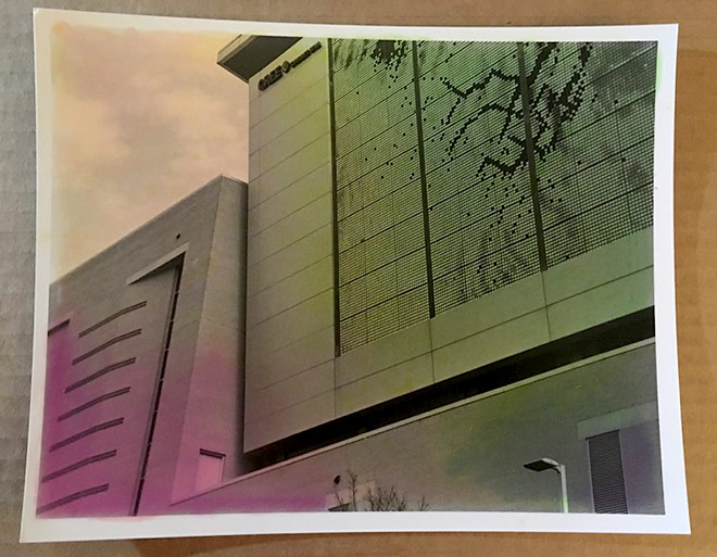 Hand tinted photo of Raleigh convention center