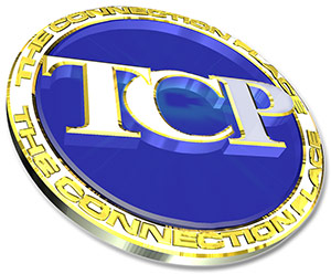 "TCP Logo - Illustrated medal with gold rim and blue center with ""TCP"" in center"