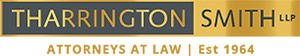 Tharrington Smith Logo - Brown and gold with uppercase type