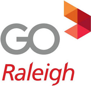 GoRaleigh Logo - Gray and red sans-serif type with triangles in upper right