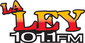 La Ley 101.1 FM Logo - Yellow and red gradient inside serif type with black outline