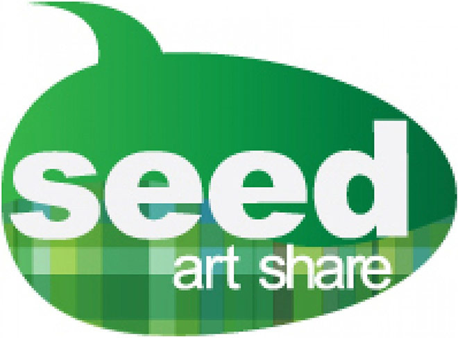 Seed Art Share Logo - Green comment bubble with white type inside