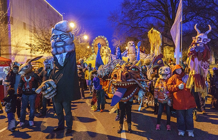 Peoples Procession At First Night Raleigh 2017 - People Walking Dow The Street Wearing Costumes