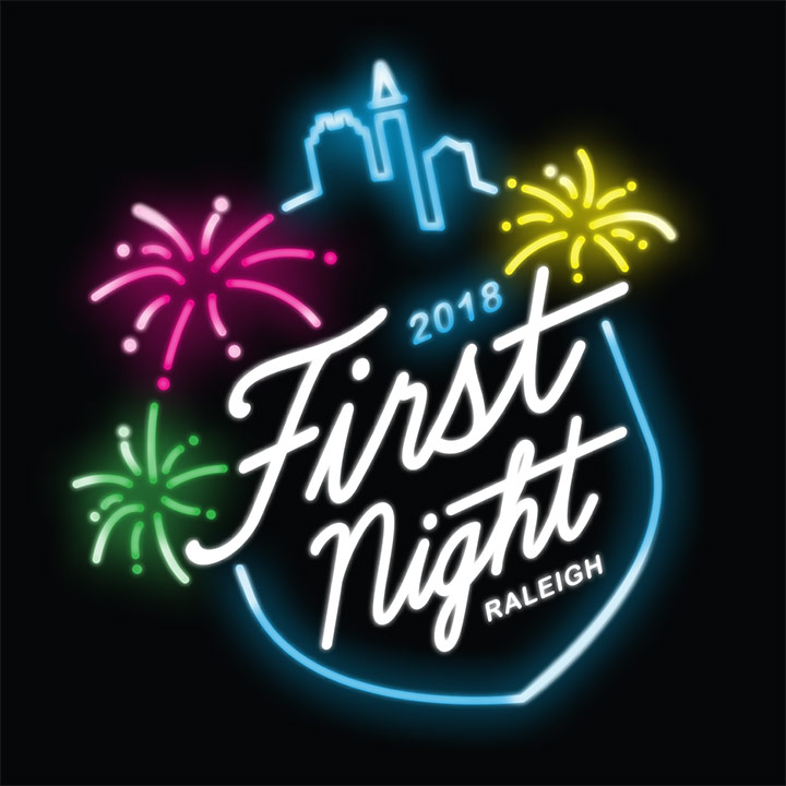 2018 First Night Raleigh Logo - Black Background With Overlaying Fireworks And White Script Type