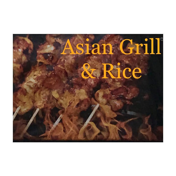 Asian Grill & Rice - Yellow type over food on a grill