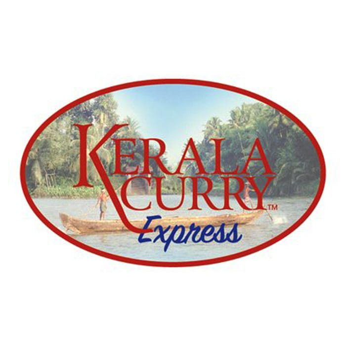Kerala Curry Express - Red and blue serif type inside red circle with photo behind type
