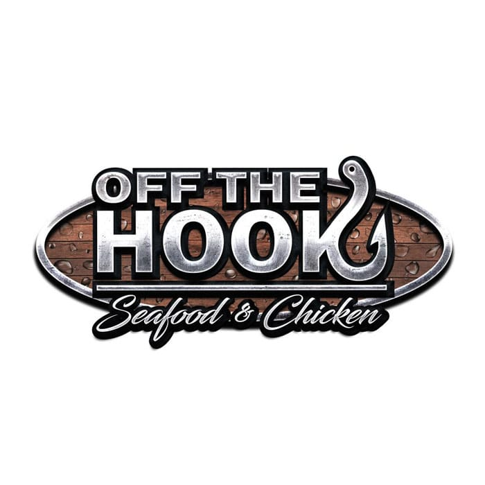 Off the Hook - Silver sans-serif type over script type over wood background