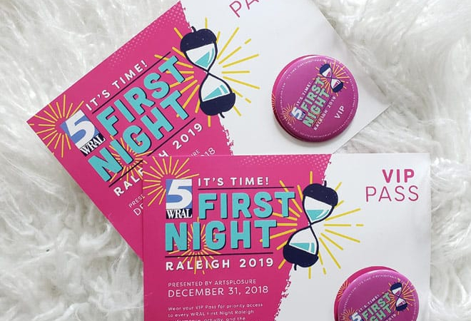 Passes Fastened To WRAL First Night Raleigh 2019 Cards