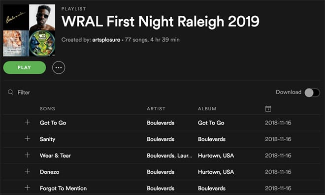2019 WRAL First Night Raleigh Spotify Playlist
