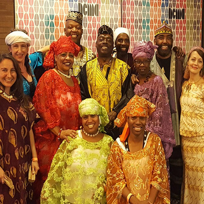African American Dance Ensemble group photo in full dress