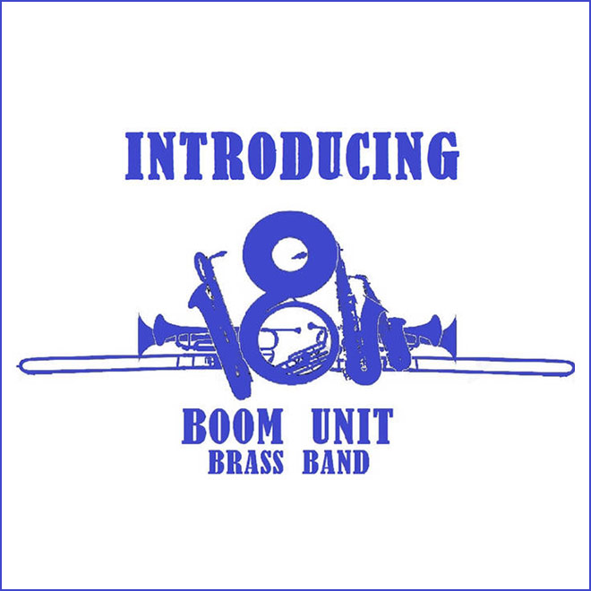 Boom Unit Brass Band - Violet serif type with instruments