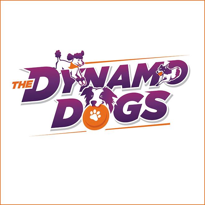 Purple sans-serif type with illustrated dogs and orange highlights