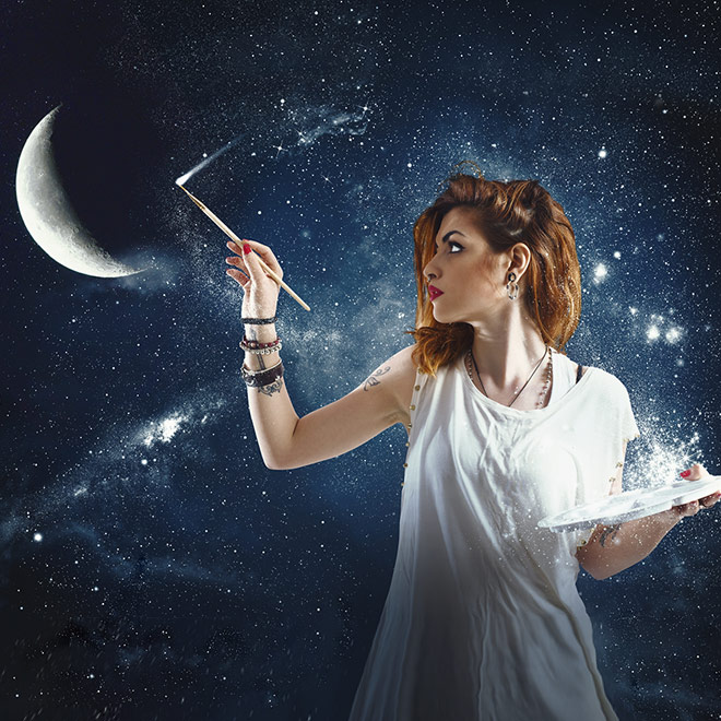Surrealism collage of a woman painting the moon
