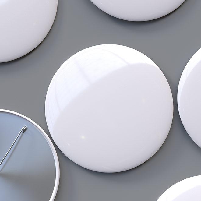 White blank button pins