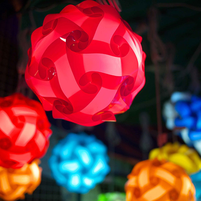 Beautiful colorful lanterns made from recycling material