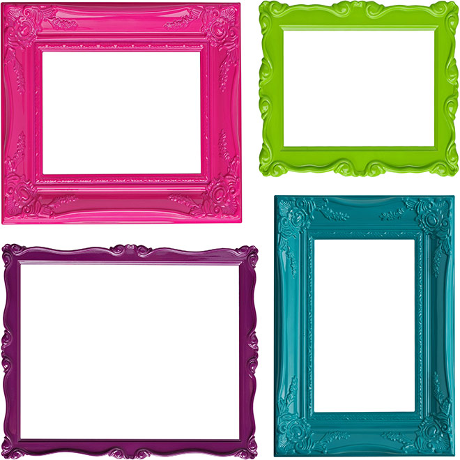 colorful picture frames in a square