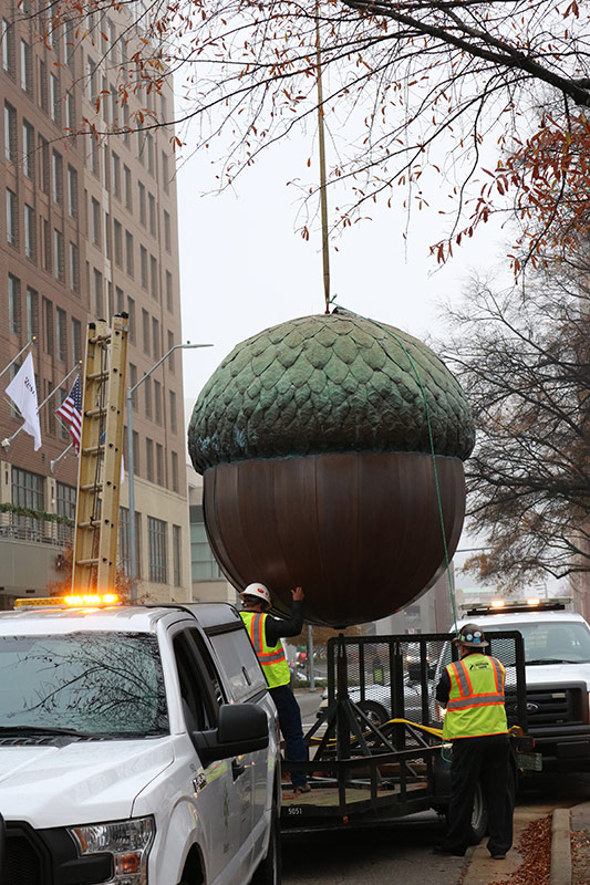 First Night Raleigh Acorn being transported