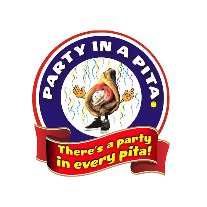 Party In A Pita Logo - Blue circle with pita inside and red banner below with yellow type