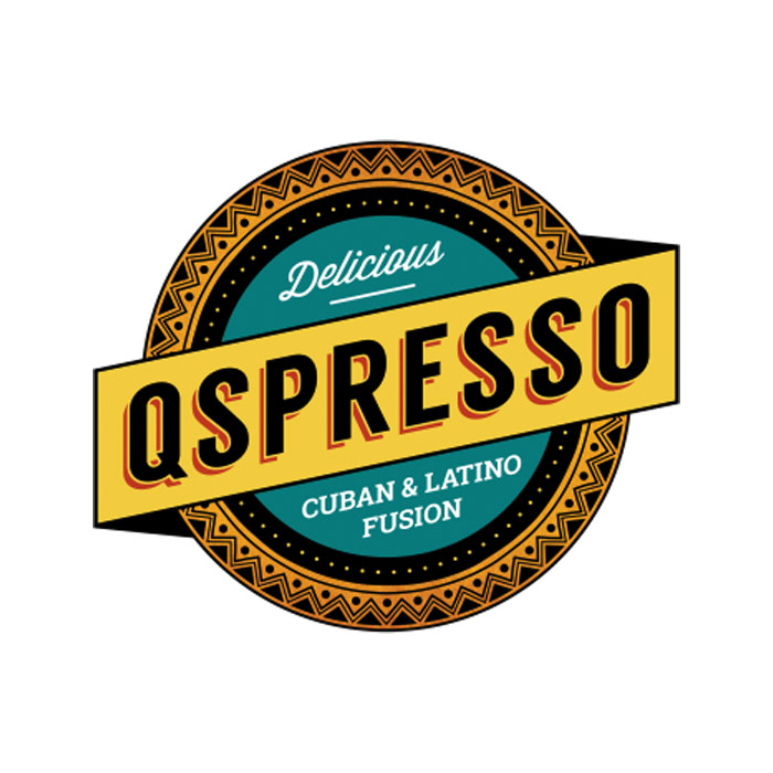 Qspresso - Colorful circle logo with black uppercase sans-serif type in middle with pattern