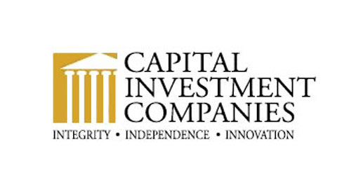 Capital Investment Companies Logo - Black serif type with gold government building icon to left