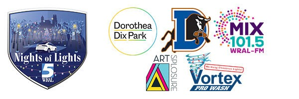 Various Presenter Logos - Artsplosure, Dorothea Dix Park, Durham Bulls, Mix 101.5, Vortex pro Wash
